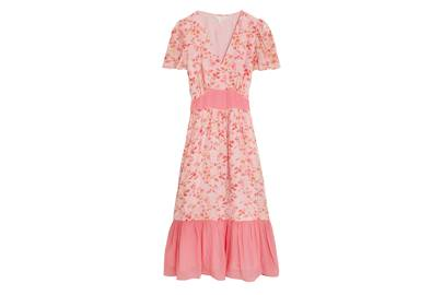 M&S x GHOST JUNE COLLECTION Tiered Pink Dress