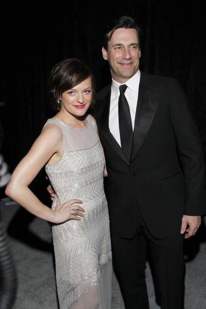Elisabeth Moss and Jon Hamm at the Golden Globes 2012 after-party