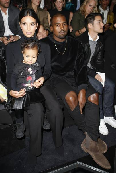 Kim Kardashian and Kanye West with daughter, North West.