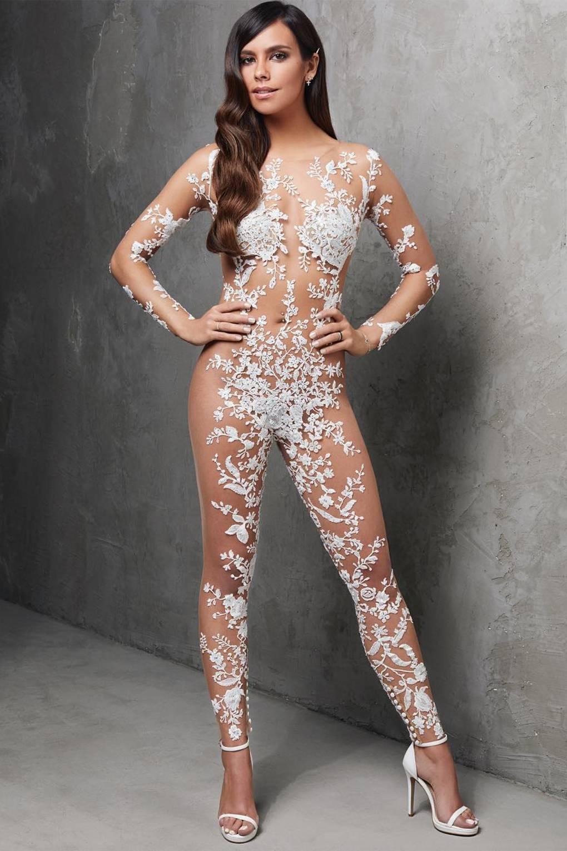 a3f0505de75 Spanish Designer Pronovias Creates Sheer Bridal Lace Jumpsuit ...