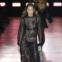 Gigi Hadid on the Alberta Ferretti runway