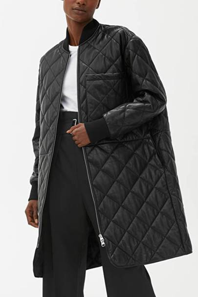 Leather coats: the quilted coat