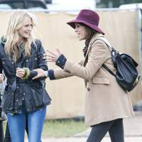 Poppy Delevingne and Alexa Chung at Glastonbury