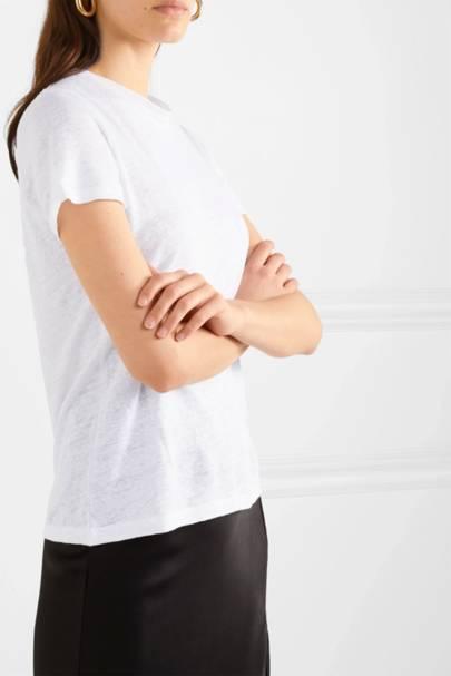 Best white t-shirt women: the linen-blend tee