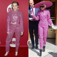 Pink glittery suit: Miley or Lady Gaga?