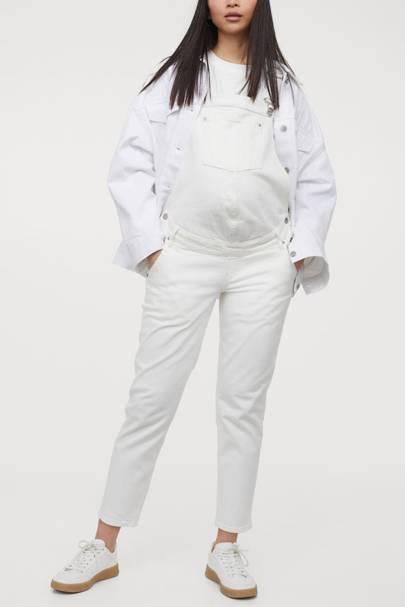 Best Maternity Overalls - White Denim