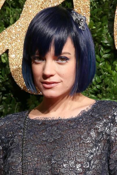 Lily Allen's blue bob